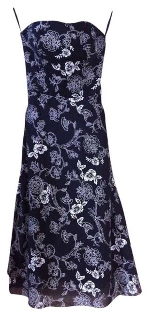 White House | Black Market short dress Black with white floral pattern Strapless Cotton Fully-lined Summer Semi-formal on Tradesy