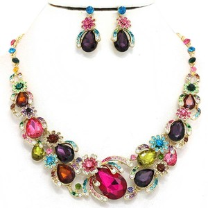 Candy Crush Multicolored Rhinestone Crystal Necklace and Earring Set