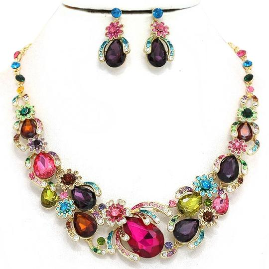 Other Candy Crush Multicolored Rhinestone Crystal Necklace and Earring Set