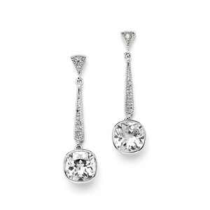 Mariell Silver Vintage Or Bridesmaid 6 Ct. Cubic Zirconia Dangle 4032e Earrings