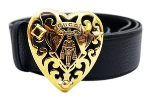 Gucci NEW GUCCI BLACK TEXTURED LEATHER GOLD HEART MEDIEVAL KNIGHT BUCKLE BELT M