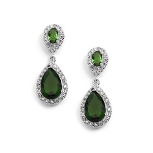 Mariell Emerald Cubic Zirconia Teardrop Wedding Or Bridesmaids Earrings 4036e-em