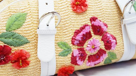 Dior Christian Woven Raffia Floral Satchel in Tan, Multi-Color
