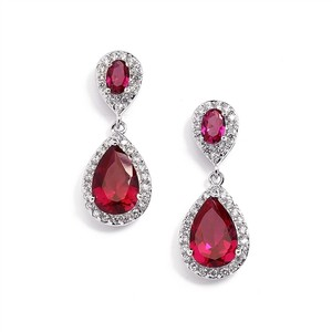 Mariell Fuchsia/ruby Cubic Zirconia Teardrop Wedding Earrings 4036e-fu