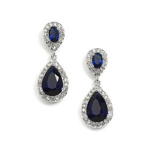 Mariell Sapphire Cubic Zirconia Teardrop Wedding Or Bridesmaids Earrings 4036e-sa