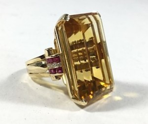 Mid-Century Citrine Ruby Diamond Gold Ring