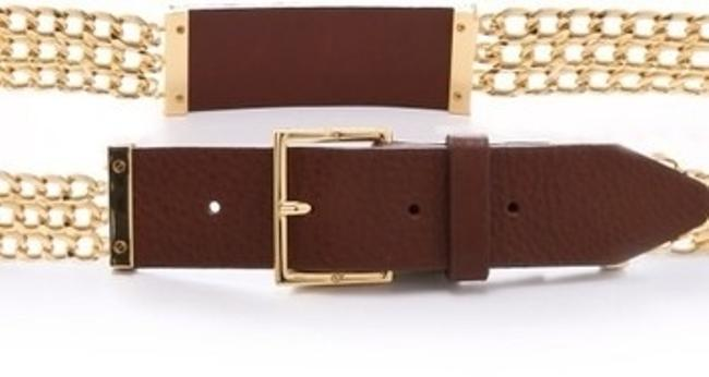 Tory Burch Gold Leather Plaque Chain Size M Belt Tory Burch Gold Leather Plaque Chain Size M Belt Image 3