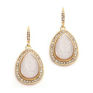 Mariell Beige Glitter Pear With Crystal Frame Wedding Or Prom Earrings 4118e-bg