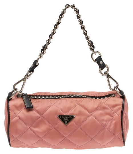 Prada Nylon Leather Chain Handbag Baguette