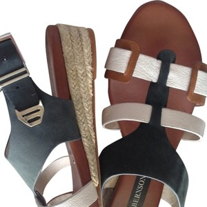 Matt Bernson New Leather Espadrille Brown white Sandals