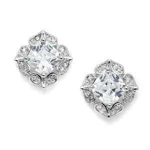 Mariell Lavish Cushion Cut Cubic Zirconia Wedding Earrings 3510e