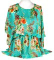 Multicolor Green Red Brown and Mint Multiwear Summer Blouse Cover Up Poncho/Cape Size OS (one size) Multicolor Green Red Brown and Mint Multiwear Summer Blouse Cover Up Poncho/Cape Size OS (one size) Image 1