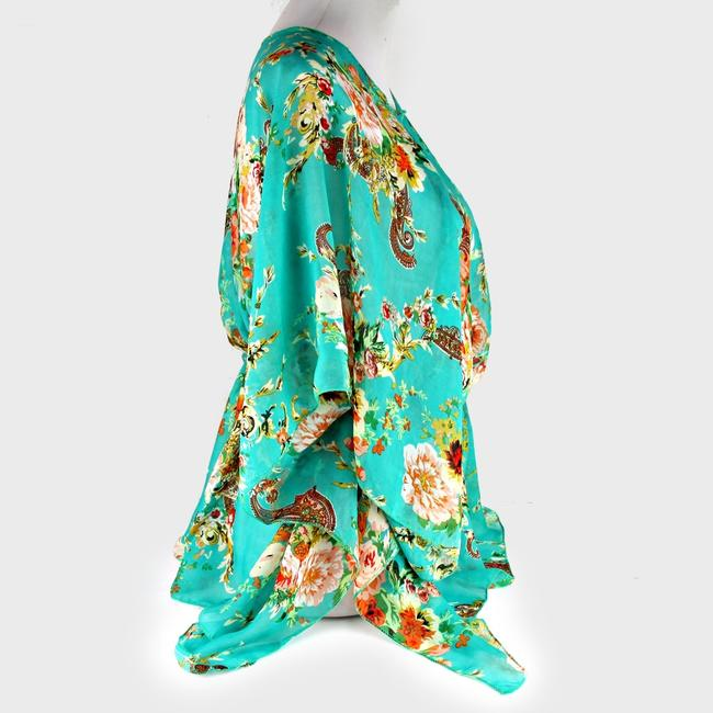 Multicolor Green Red Brown and Mint Multiwear Summer Blouse Cover Up Poncho/Cape Size OS (one size) Multicolor Green Red Brown and Mint Multiwear Summer Blouse Cover Up Poncho/Cape Size OS (one size) Image 2