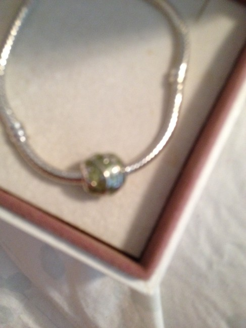 Item - Sterling Silver And Green Barrel By and 4mm Hole. Charm