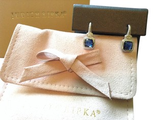 Judith Ripka Judith Ripka Sterling & 18k Simulated Blue Sapphire Earrings