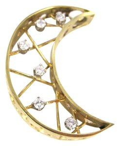 14kt Yellow Gold Pendant CRESCENT MOON 6 DIAMONDS