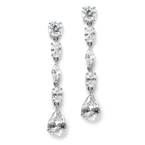 Mariell Linear Cubic Zirconia Wedding Or Prom Dangle Earrings 3730e
