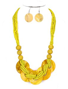 Other Boho Chic Multicolor Yellow Seed Bead Strands Bib Necklace Collar and Earring