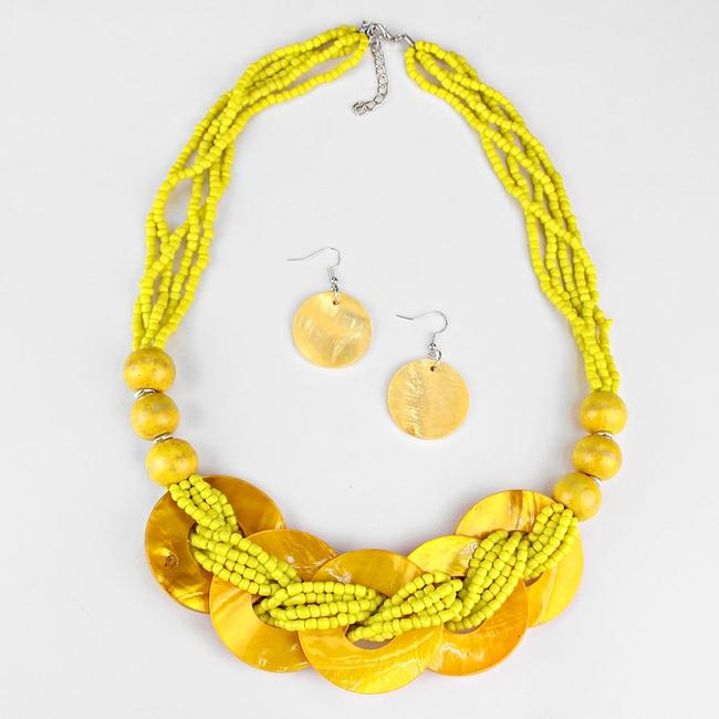 Yellow Boho Chic Multicolor Seed Bead Strands Bib Collar and Earring Necklace Yellow Boho Chic Multicolor Seed Bead Strands Bib Collar and Earring Necklace Image 2