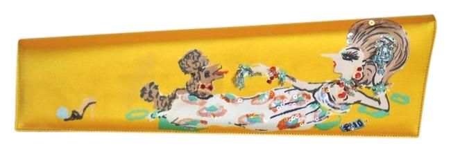 Item - Asymmetrical Beaded Poodle Painting Rare Yellow Satin Clutch