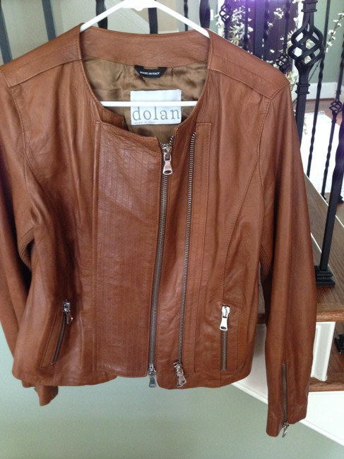 Dolan Leather Moto Motorcycle Cognac Vince Brown/Cognac Leather Jacket