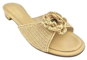 Chanel Logo Gold Hardware Natural Sandals