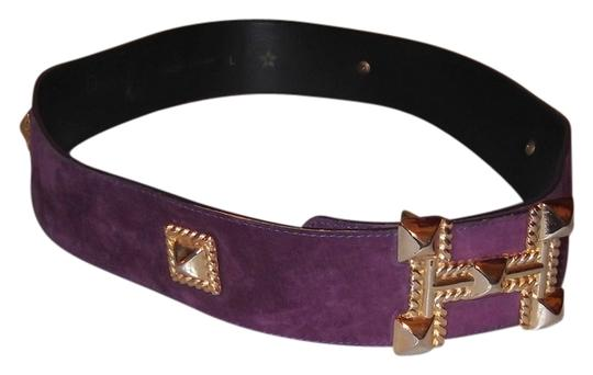 Donna Katz Vintage Donna Katz Purple Suede Leather Gold Stud Wide Belt Size L