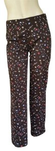 Worth Ankle Length Embroidered Floral Skinny Pants Brown