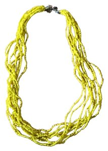 New York & Company Yellow Beaded Rope Necklace