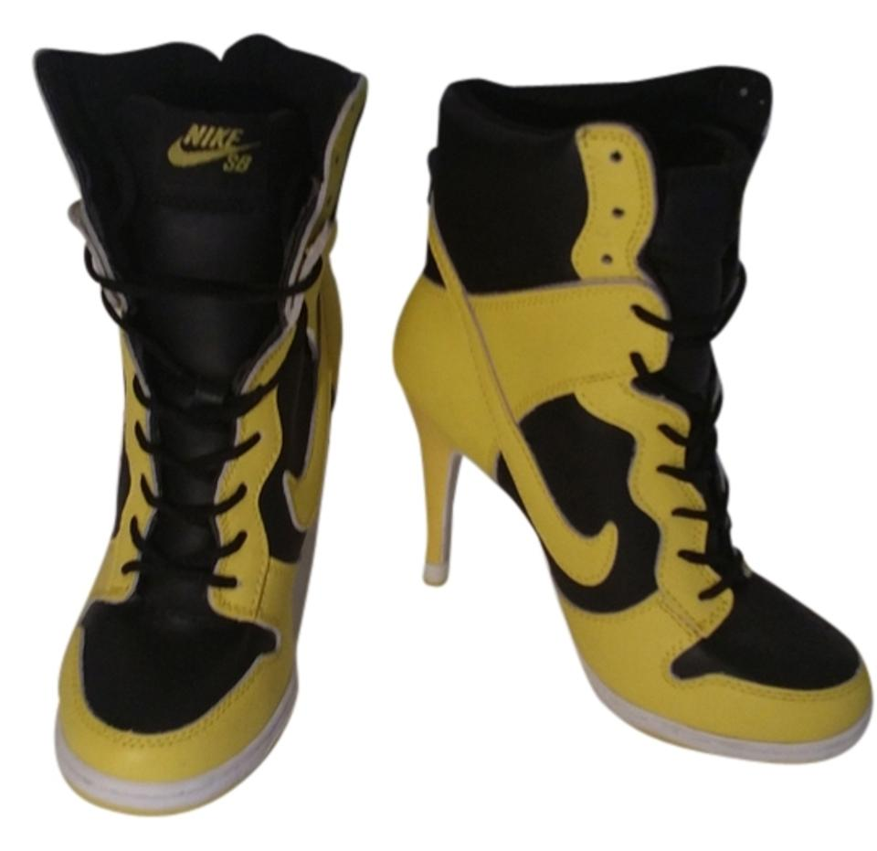 detailed look aa02b d541f Nike Black and Yellow Sb Dunk High Heels Pumps