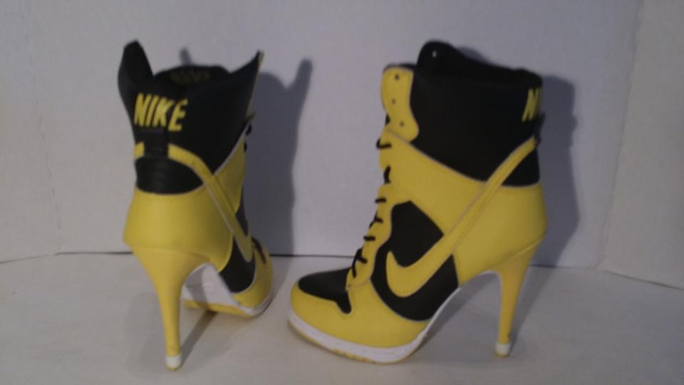 Nike Black and Yellow Sb Dunk High Heels Pumps Size US 6.5