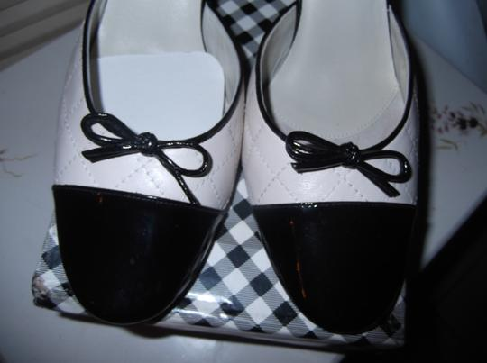 Delman Black and White Mules
