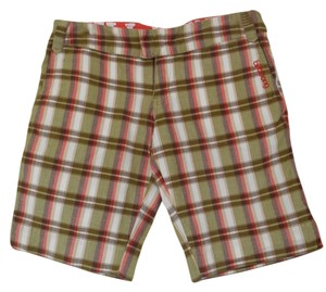 "Billabong Earthy Colors Board Bermuda Juniors 3 30 30"" Waist 30 X 10 Summer Beach Camping Camp Hike Hike Pockets Hike Edgy 8 Shorts Plaid in White, Olive, Brown, Coral and Tan"