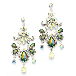 Mariell Crystal & Ab Chandelier Statement Earrings With Vitrail Medium Gems 4149e-vm