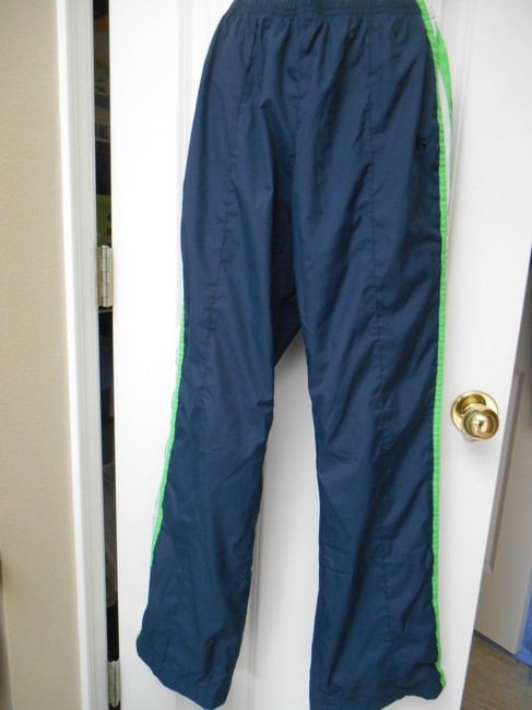 Old Navy Wind Running Jogging Warm-up Basketball Polyester Mesh Lined Zip Ankles Back Pocket Sweats Run Pull On Drawstring Gym Athletic Pants Navy and Green and White