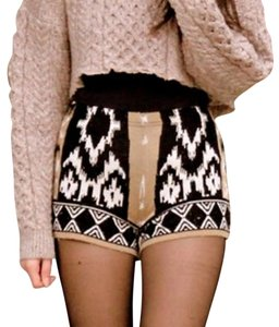 Sparkle & Fade Knit Sweater Tribal Mini/Short Shorts Tan & Black