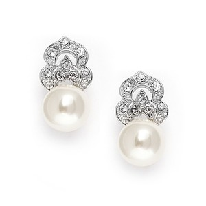 Mariell Cubic Zirconia & Soft Cream Pearl Vintage Wedding Earrings 3827e