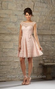 Mori Lee Blush Lace Cap Sleeve Feminine Bridesmaid/Mob Dress Size 12 (L)