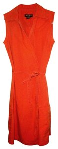 Eddie Bauer short dress Orange Wrap Sleeveless Cotton Safari Cargo Beach Pool Travel on Tradesy