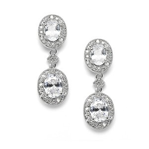 Mariell Vintage Cubic Zirconia Bridal Or Bridesmaids Earrings 3658e