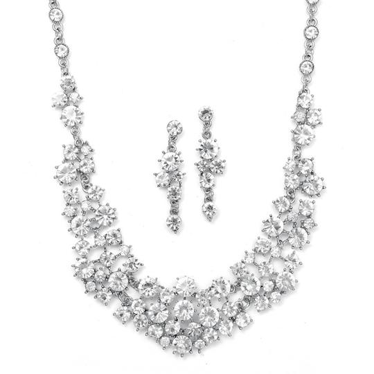 Mariell Silver 673s Bold Crystal Clusters Necklace and Earrings Jewelry Set