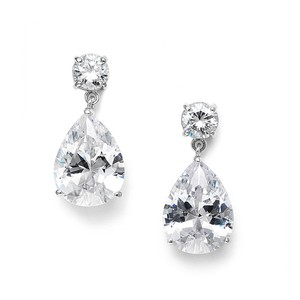 Mariell Silver Classic Cubic Zirconia Pearshape Drop Bridesmaid Or 3528e Earrings