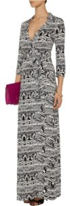 Black And White Maxi Dress by Diane von Furstenberg Maxi Wrap Print