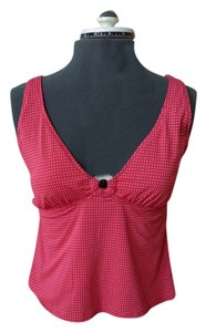 Lands' End Bathing Suit Top Red Polka Dot Plunging Top Size 12 Soft Cups