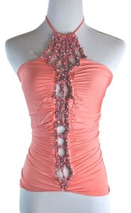 Roberto Cavalli Crysl Embelishment With Beaded Border Along The Front Halter Tank Crystal Embelished Top Coral