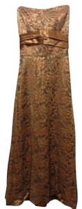 Bari Jay Gold Metallic Lace Sash Sweetheart Neck S Dress
