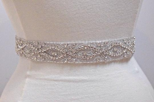 "Ivory Crystal Rhinestone Belt - 1.5"" Wide with Light Sash"