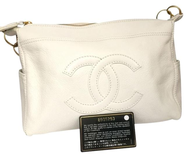 Chanel Vintage White Black Caviar Shoulder Bag Chanel Vintage White Black Caviar Shoulder Bag Image 1