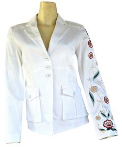 Boston Proper Embroidered Cotton Stretch White Blazer