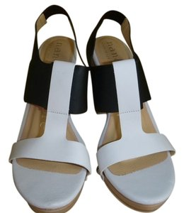 Nanette Lepore Leather Studded White and Black Sandals